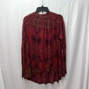 Free People split and lace tunic top